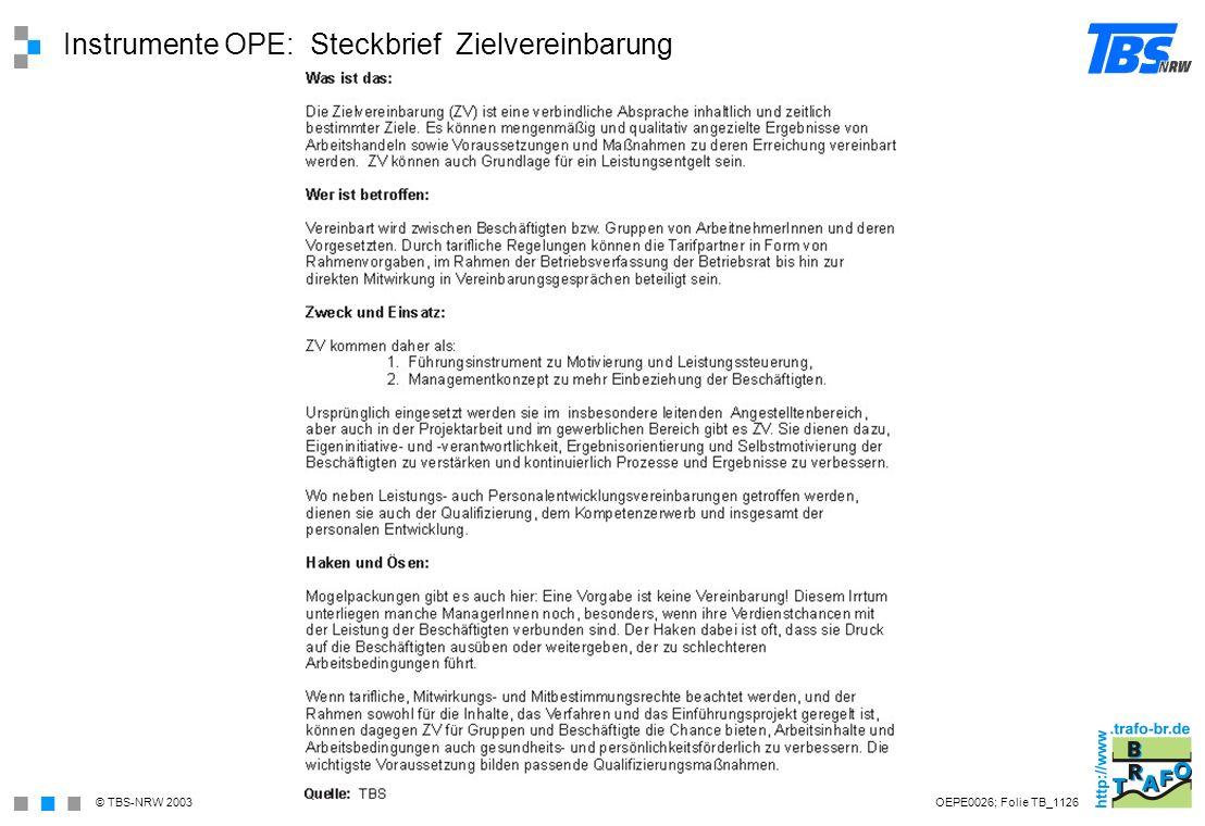 Instrumente OPE: Steckbrief Zielvereinbarung