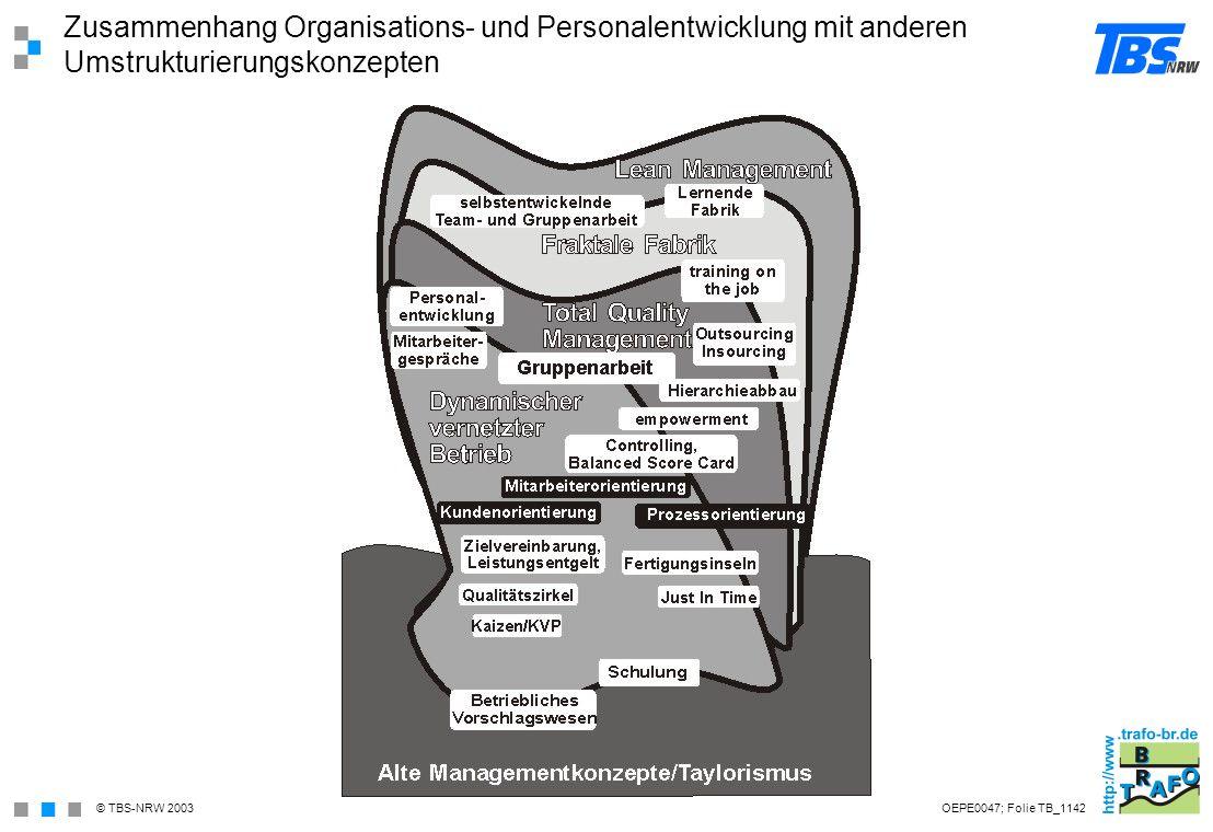 Zusammenhang Organisations- und Personalentwicklung mit anderen Umstrukturierungskonzepten