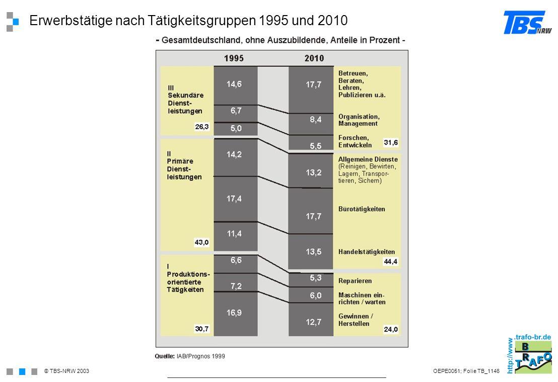 Erwerbstätige nach Tätigkeitsgruppen 1995 und 2010