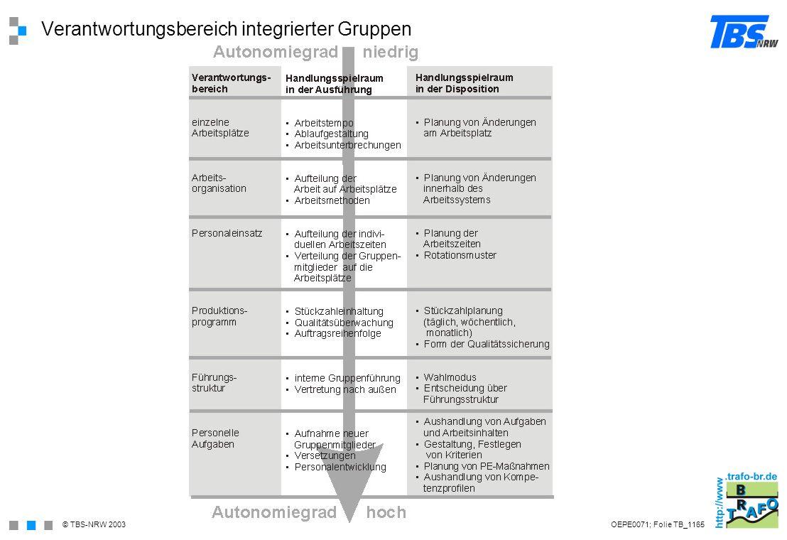Verantwortungsbereich integrierter Gruppen