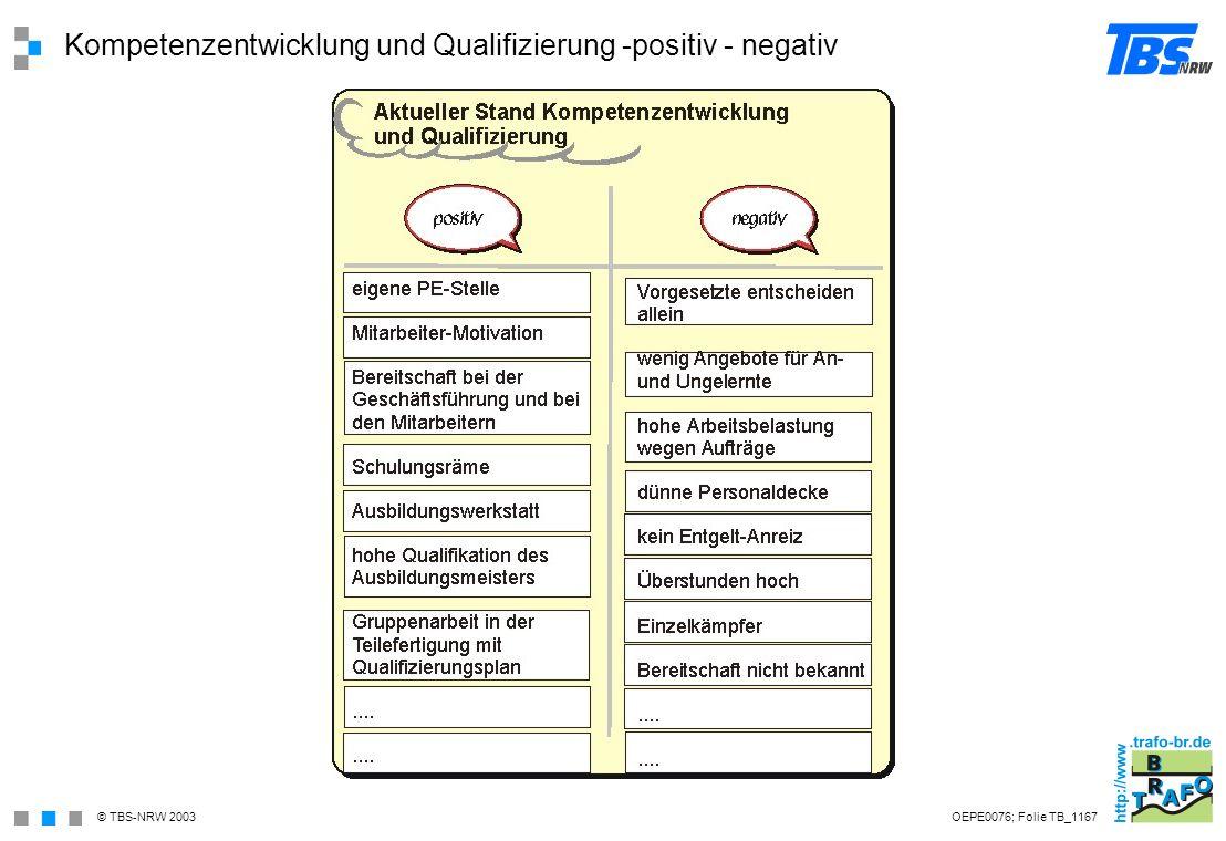 Kompetenzentwicklung und Qualifizierung -positiv - negativ
