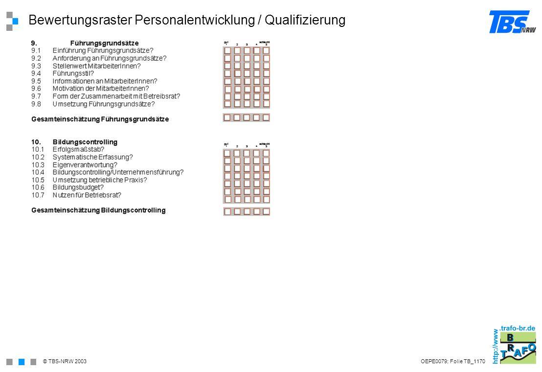Bewertungsraster Personalentwicklung / Qualifizierung