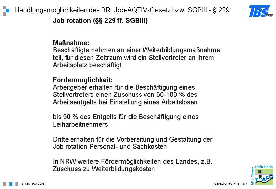 Handlungsmöglichkeiten des BR: Job-AQTIV-Gesetz bzw. SGBIII - § 229