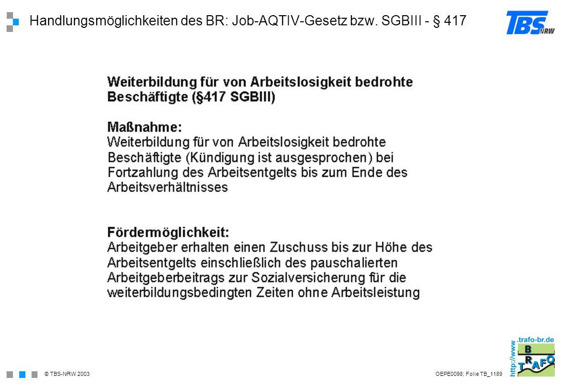 Handlungsmöglichkeiten des BR: Job-AQTIV-Gesetz bzw. SGBIII - § 417