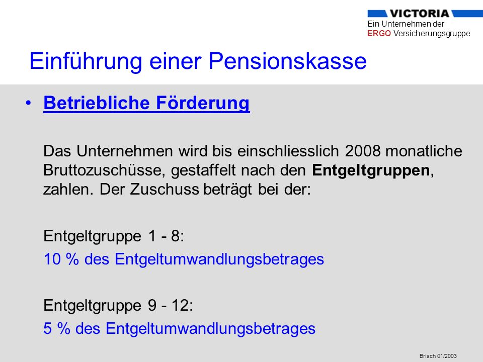Einführung einer Pensionskasse