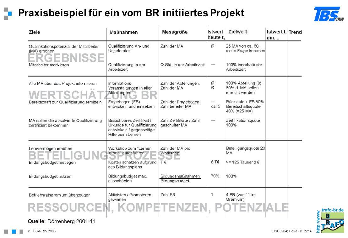 Praxisbeispiel für ein vom BR initiiertes Projekt