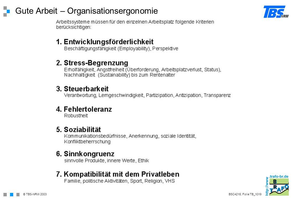 Gute Arbeit – Organisationsergonomie