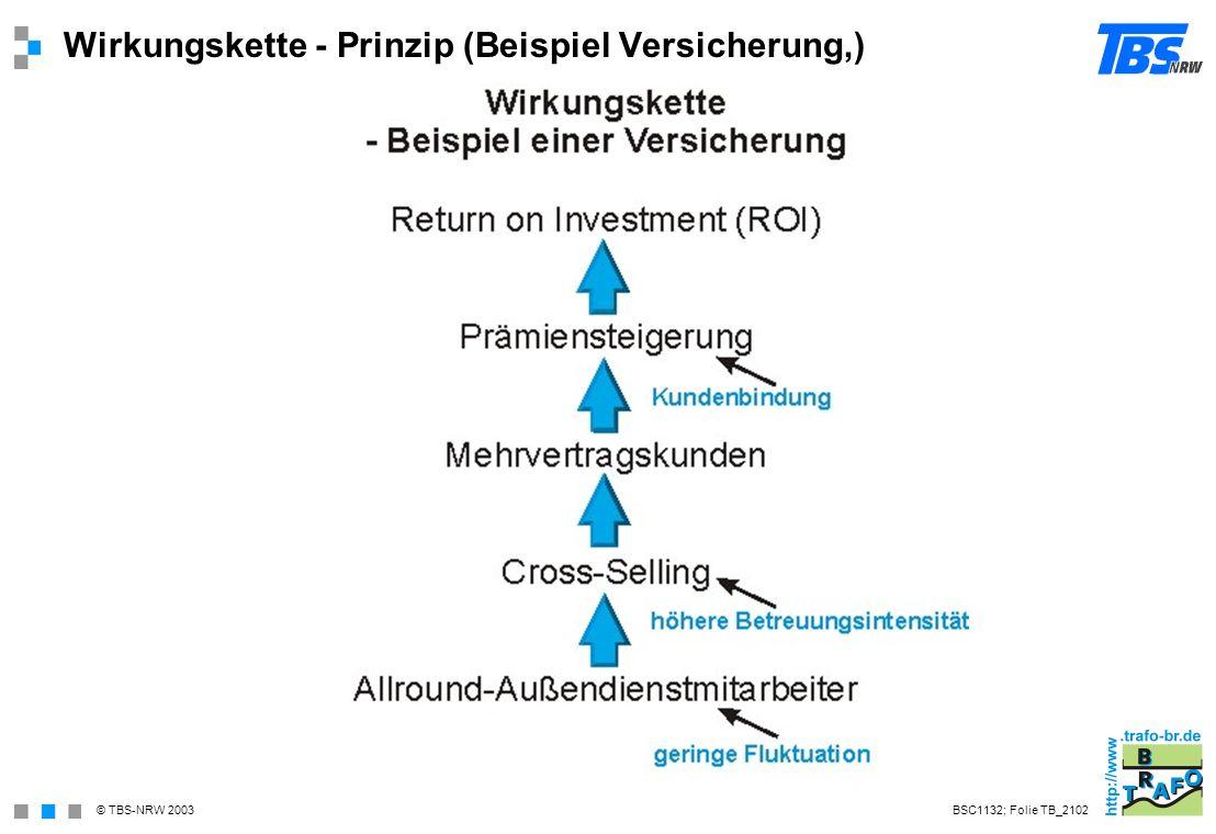 Wirkungskette - Prinzip (Beispiel Versicherung,)