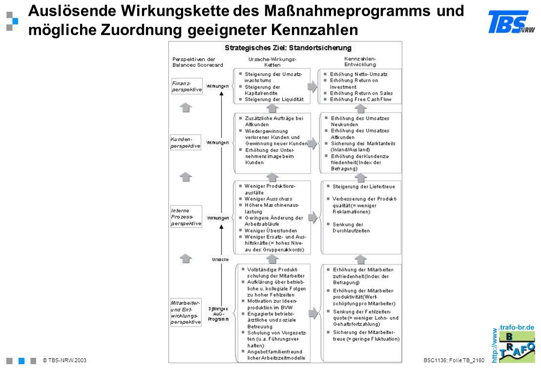 Auslösende Wirkungskette des Maßnahmeprogramms und mögliche Zuordnung geeigneter Kennzahlen