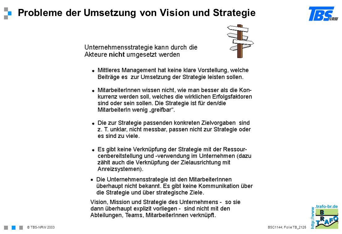Probleme der Umsetzung von Vision und Strategie