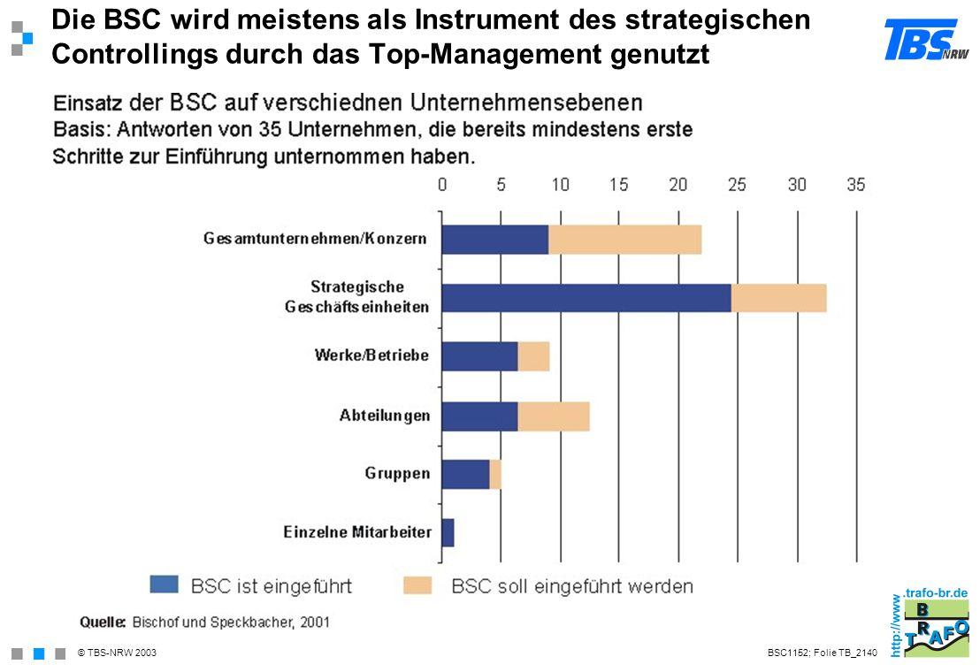 Die BSC wird meistens als Instrument des strategischen Controllings durch das Top-Management genutzt