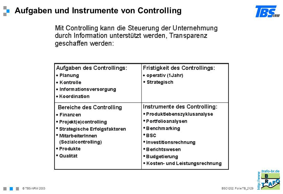 Aufgaben und Instrumente von Controlling
