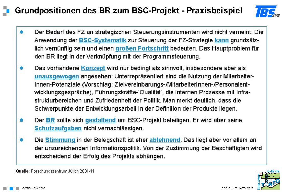 Grundpositionen des BR zum BSC-Projekt - Praxisbeispiel