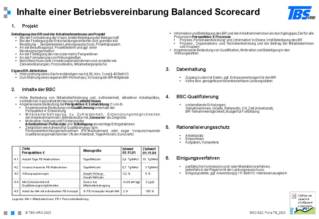 Inhalte einer Betriebsvereinbarung Balanced Scorecard