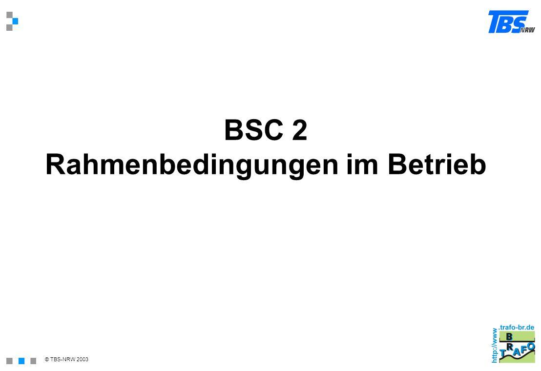 BSC 2 Rahmenbedingungen im Betrieb