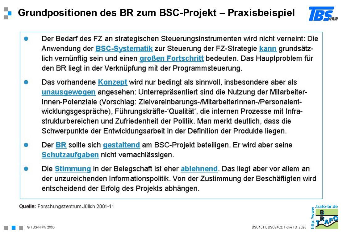 Grundpositionen des BR zum BSC-Projekt – Praxisbeispiel