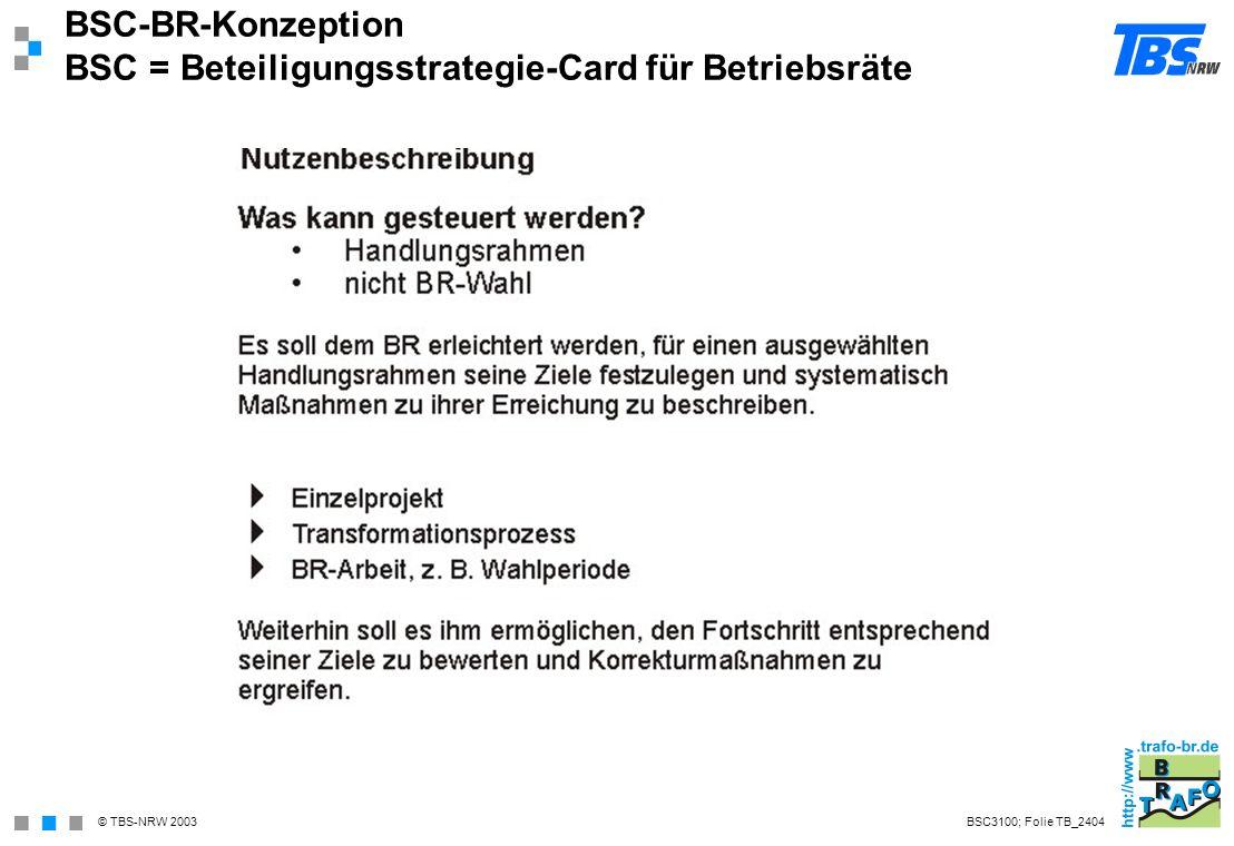 BSC-BR-Konzeption BSC = Beteiligungsstrategie-Card für Betriebsräte