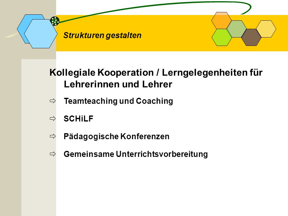 Kollegiale Kooperation / Lerngelegenheiten für Lehrerinnen und Lehrer
