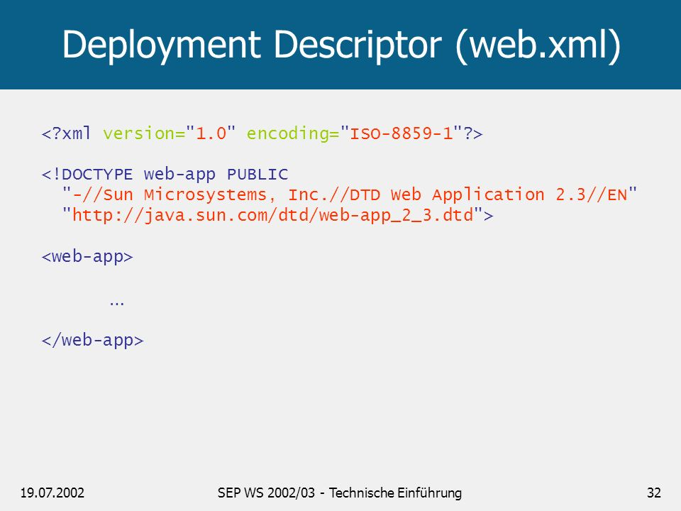 Deployment Descriptor (web.xml)