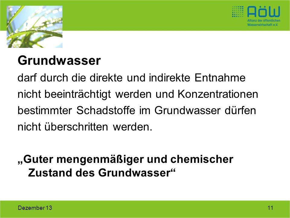 Grundwasser darf durch die direkte und indirekte Entnahme