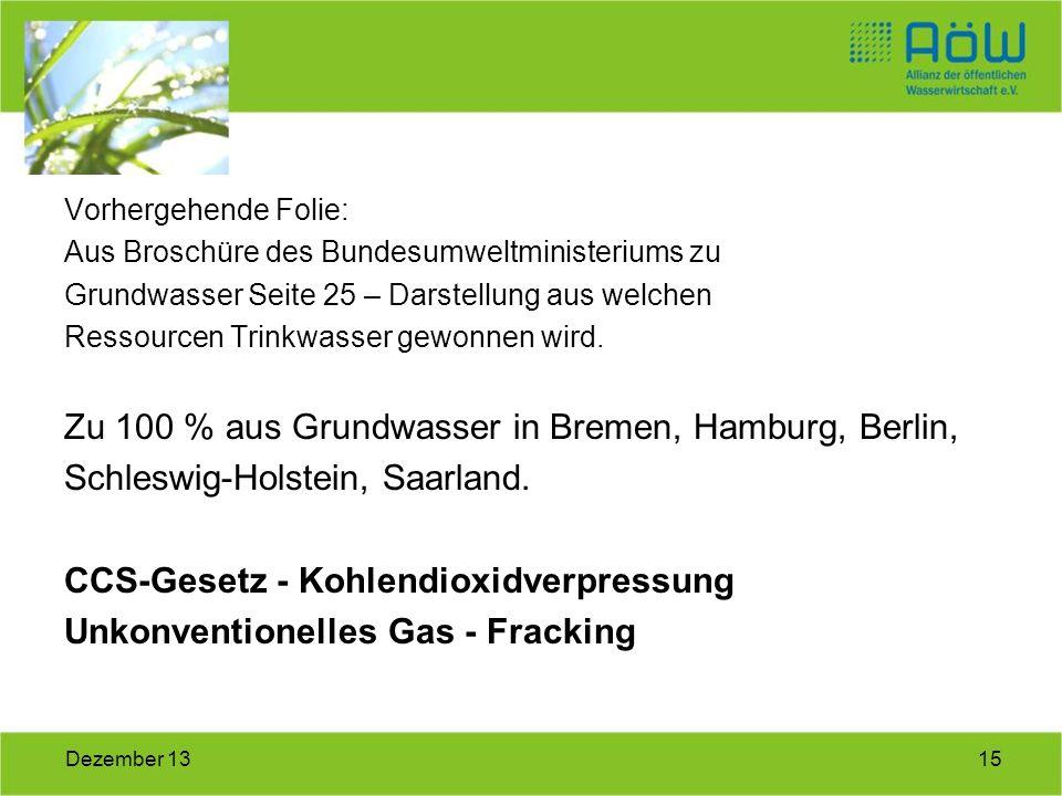 Zu 100 % aus Grundwasser in Bremen, Hamburg, Berlin,