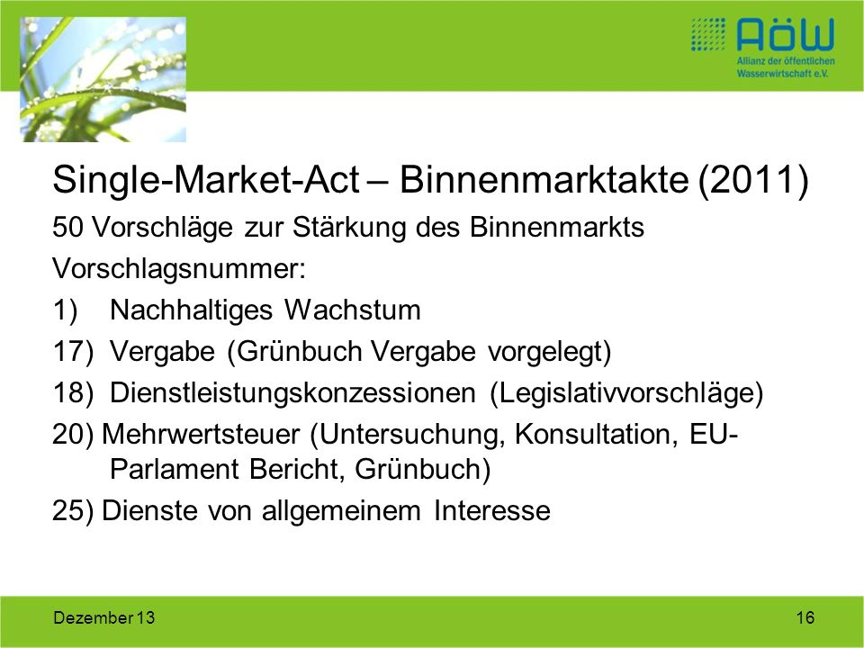 Single-Market-Act – Binnenmarktakte (2011)