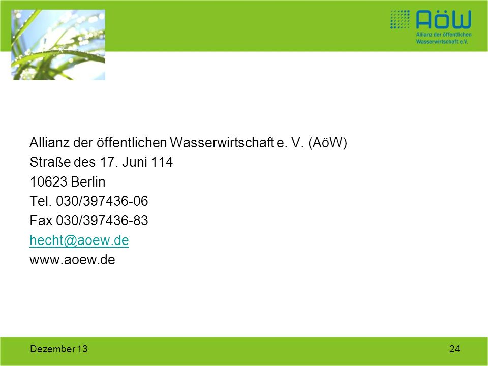 Allianz der öffentlichen Wasserwirtschaft e. V. (AöW)
