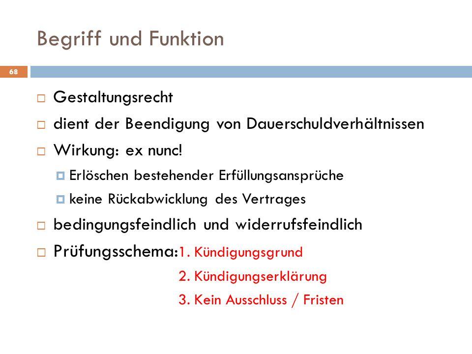 Begriff und Funktion Prüfungsschema: 1. Kündigungsgrund