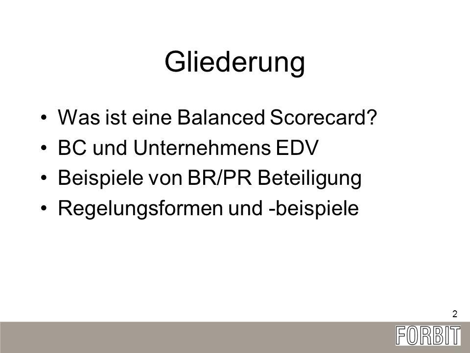 Gliederung Was ist eine Balanced Scorecard BC und Unternehmens EDV
