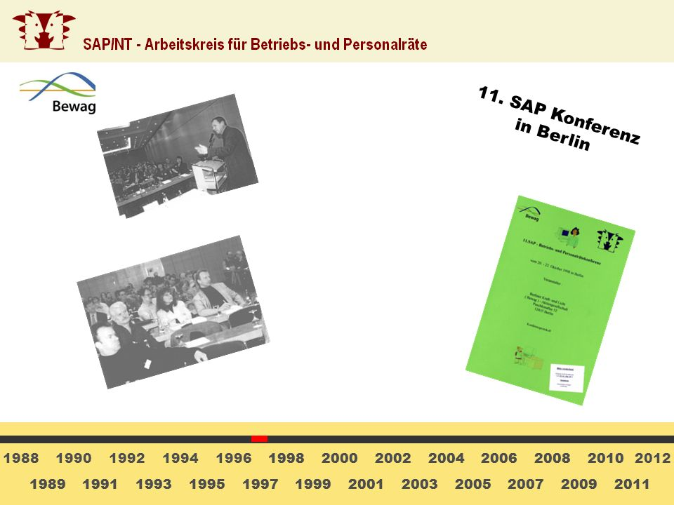 11. SAP Konferenz in Berlin 1988 1990 1992 1994 1996 1998 1998 2000