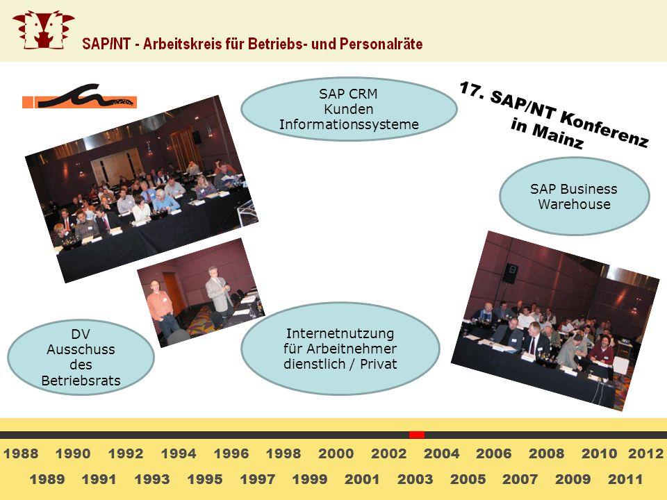 17. SAP/NT Konferenz in Mainz SAP CRM Kunden Informationssysteme