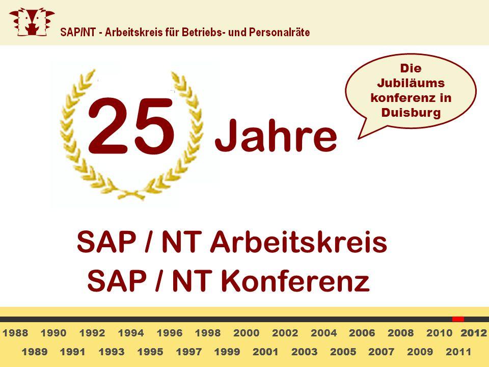 25 Jahre SAP / NT Arbeitskreis SAP / NT Konferenz Die Jubiläums