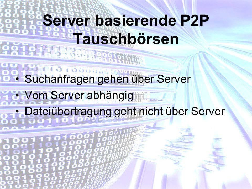 Server basierende P2P Tauschbörsen