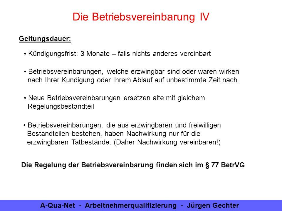 Die Betriebsvereinbarung IV