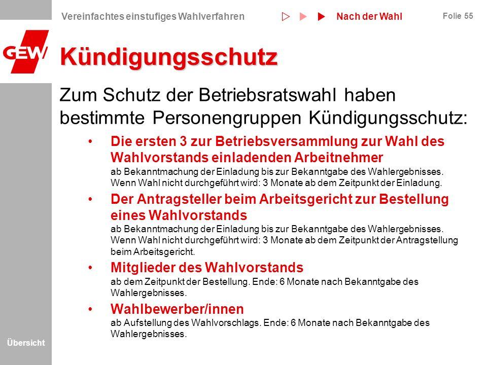 Kündigungsschutz Nach der Wahl. Vereinfachtes einstufiges Wahlverfahren.