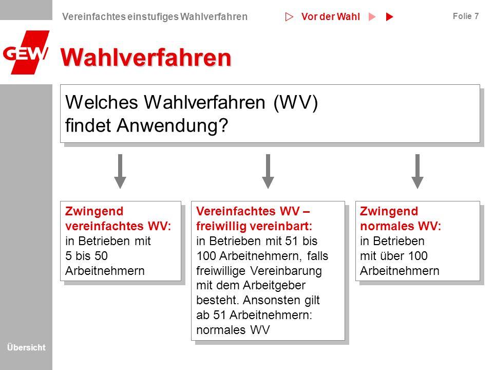 Wahlverfahren Welches Wahlverfahren (WV) findet Anwendung
