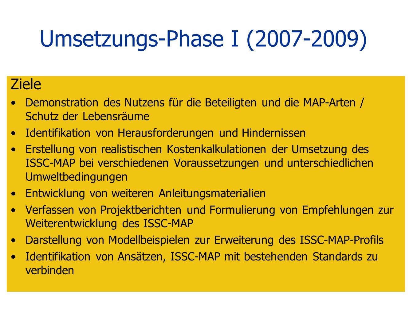 Umsetzungs-Phase I (2007-2009)