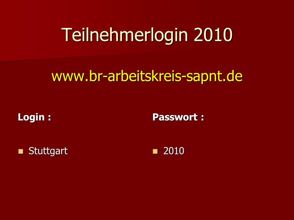 Teilnehmerlogin 2010 www.br-arbeitskreis-sapnt.de