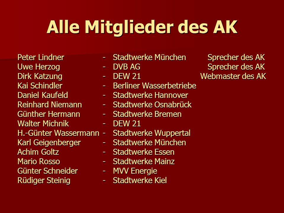 Alle Mitglieder des AK Peter Lindner - Stadtwerke München Sprecher des AK. Uwe Herzog - DVB AG Sprecher des AK.