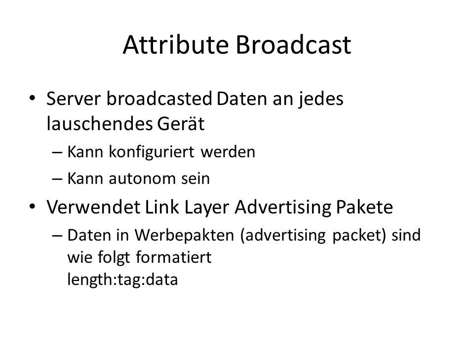 Attribute BroadcastServer broadcasted Daten an jedes lauschendes Gerät. Kann konfiguriert werden. Kann autonom sein.