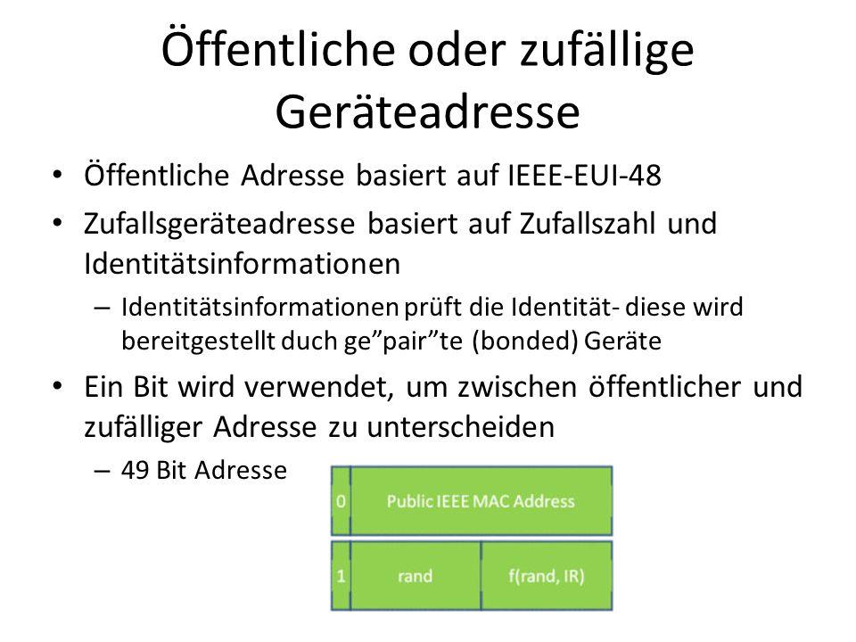 Öffentliche oder zufällige Geräteadresse
