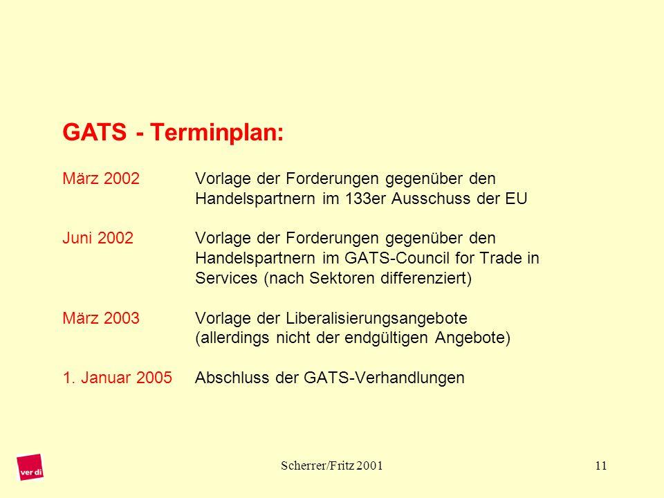 GATS - Terminplan: März 2002. Vorlage der Forderungen gegenüber den