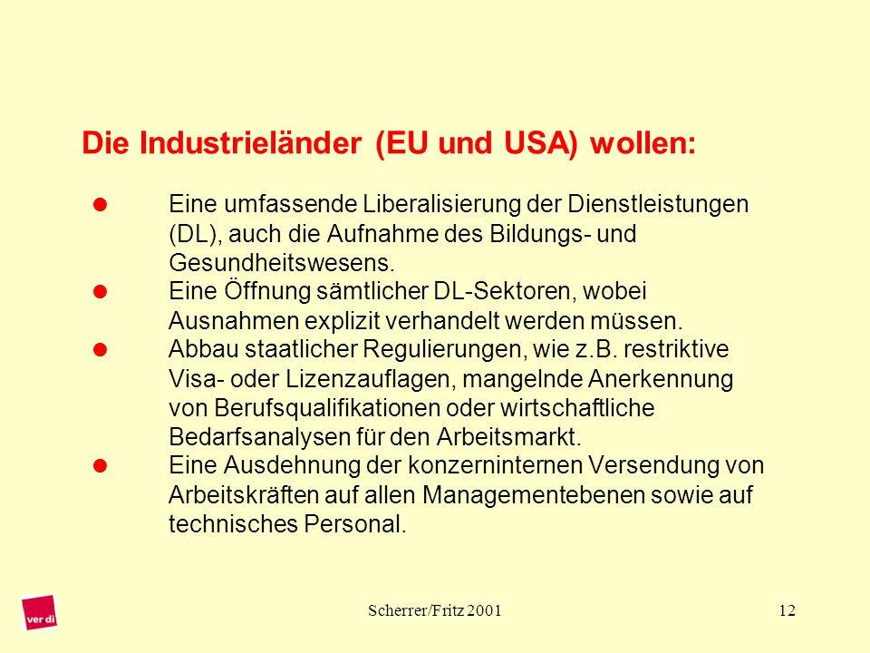 Die Industrieländer (EU und USA) wollen: 