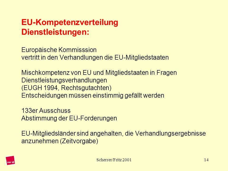EU-Kompetenzverteilung Dienstleistungen: Europäische Kommisssion vertritt in den Verhandlungen die EU-Mitgliedstaaten Mischkompetenz von EU und Mitgliedstaaten in Fragen Dienstleistungsverhandlungen (EUGH 1994, Rechtsgutachten) Entscheidungen müssen einstimmig gefällt werden 133er Ausschuss Abstimmung der EU-Forderungen EU-Mitgliedsländer sind angehalten, die Verhandlungsergebnisse anzunehmen (Zeitvorgabe)