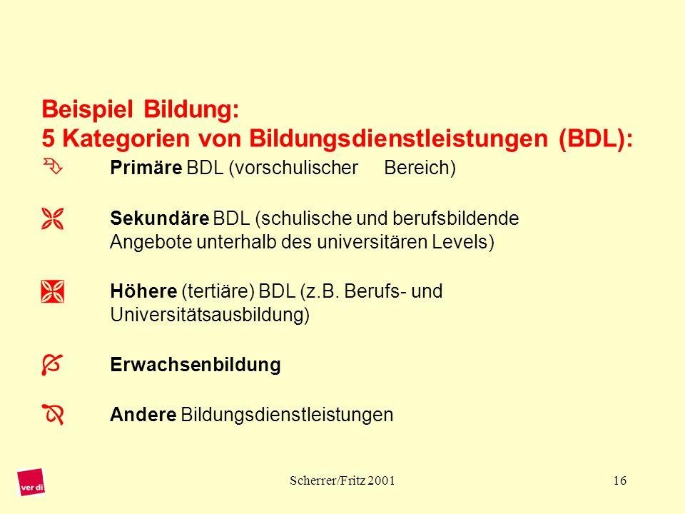 Beispiel Bildung: 5 Kategorien von Bildungsdienstleistungen (BDL): 