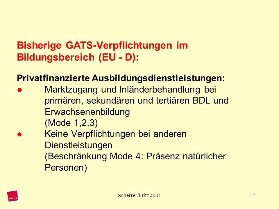 Bisherige GATS-Verpflichtungen im Bildungsbereich (EU - D): Privatfinanzierte Ausbildungsdienstleistungen:  Marktzugang und Inländerbehandlung bei primären, sekundären und tertiären BDL und Erwachsenenbildung (Mode 1,2,3)  Keine Verpflichtungen bei anderen Dienstleistungen (Beschränkung Mode 4: Präsenz natürlicher Personen)