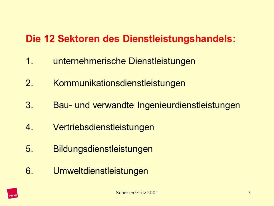 Die 12 Sektoren des Dienstleistungshandels: 1