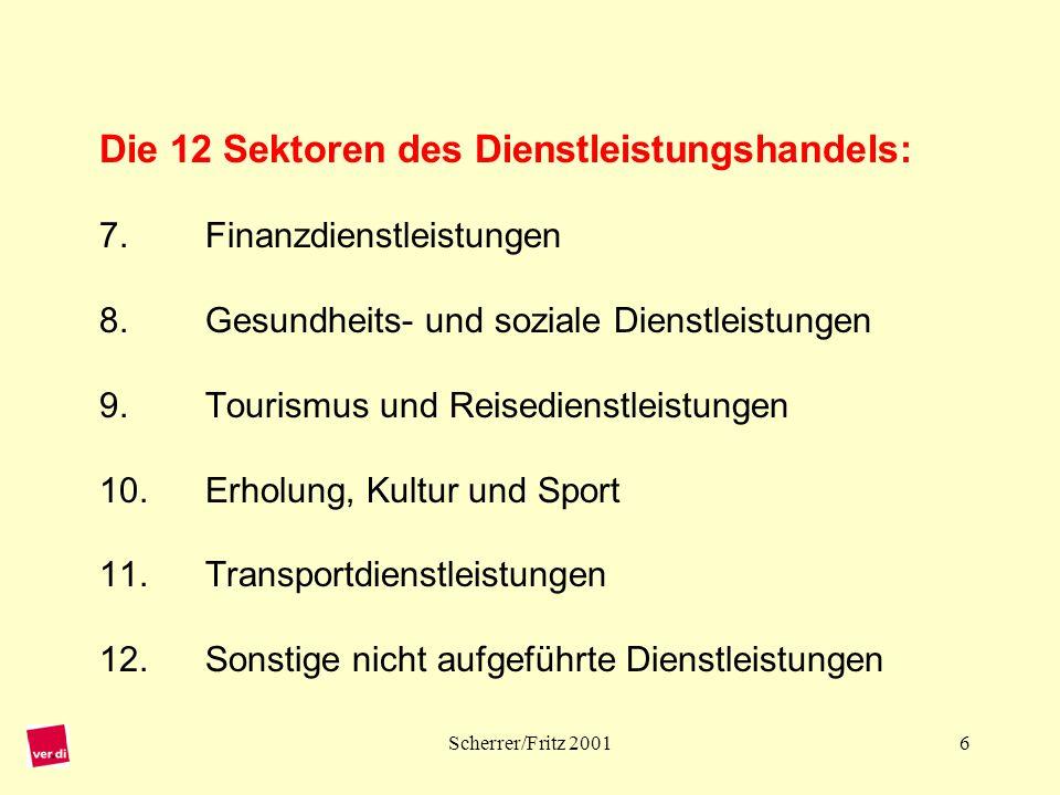 Die 12 Sektoren des Dienstleistungshandels: 7. Finanzdienstleistungen 8. Gesundheits- und soziale Dienstleistungen 9. Tourismus und Reisedienstleistungen 10. Erholung, Kultur und Sport 11. Transportdienstleistungen 12. Sonstige nicht aufgeführte Dienstleistungen