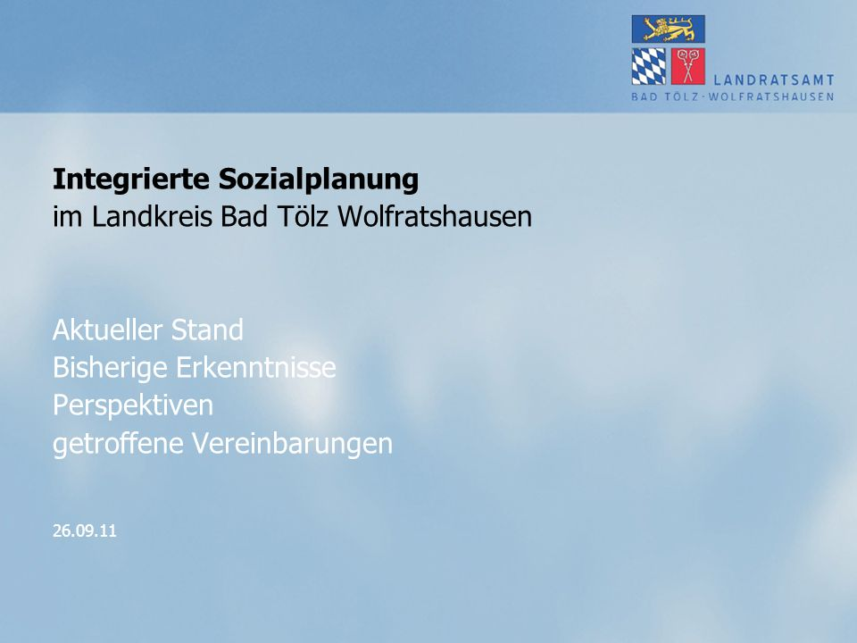 Integrierte Sozialplanung im Landkreis Bad Tölz Wolfratshausen