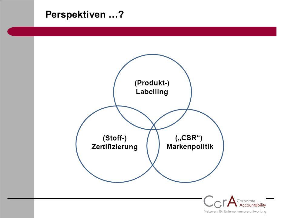 "(Stoff-) Zertifizierung (""CSR ) Markenpolitik"